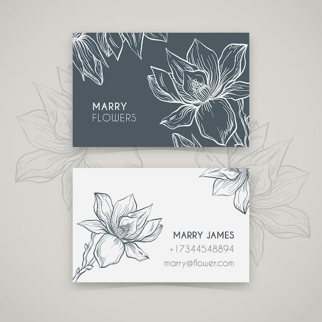 Modèle de carte de visite floral réaliste dessiné à la main Vecteur gratuit