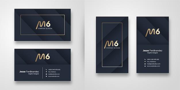 Modèle de carte de visite de forme sombre moderne Vecteur Premium
