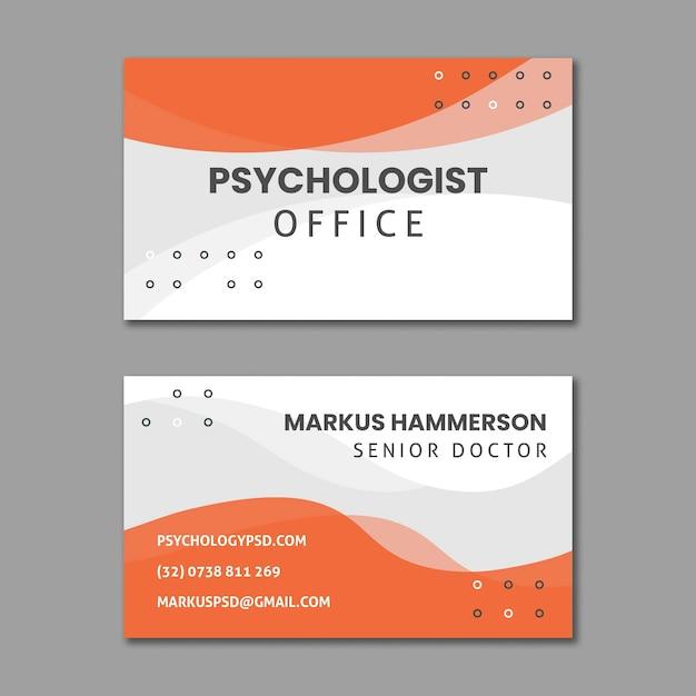 Modèle De Carte De Visite Horizontale De Bureau De Psychologie Vecteur Premium
