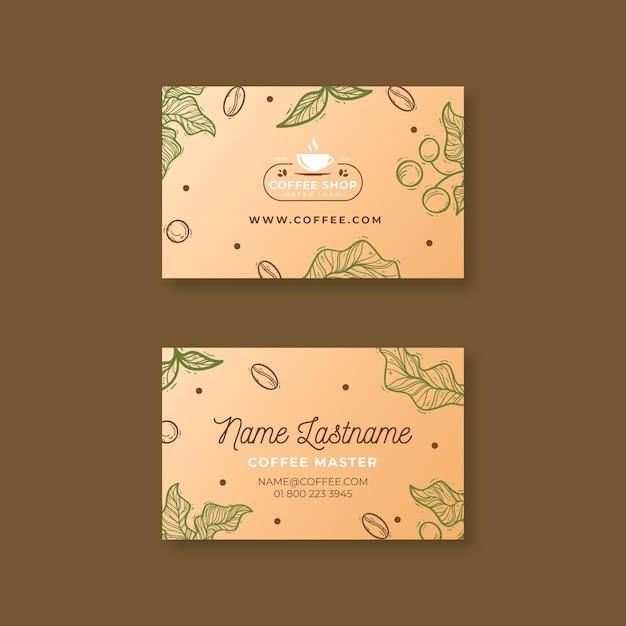 Modèle De Carte De Visite Horizontale De Café Vecteur Premium