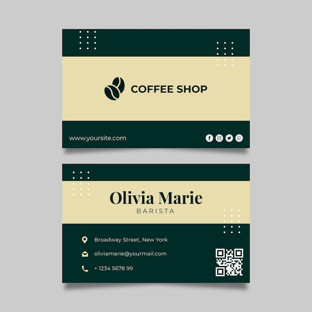 Modèle De Carte De Visite Horizontale Café Vecteur gratuit