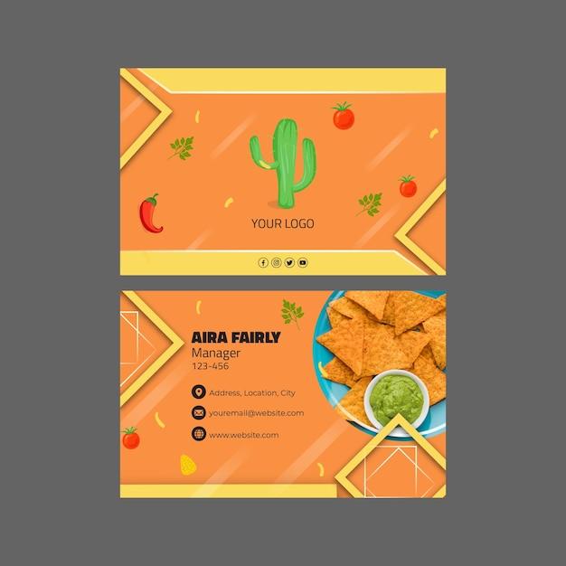 Modèle De Carte De Visite Horizontale De Cuisine Mexicaine Vecteur Premium