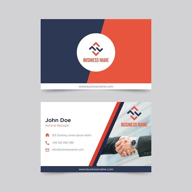 Modèle De Carte De Visite Horizontale Double Face Business Vecteur gratuit