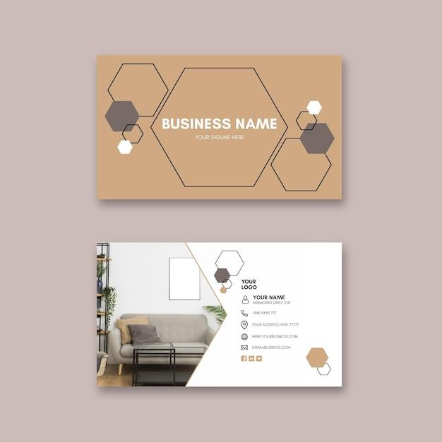 Modèle De Carte De Visite Horizontale De Maisons Modernes Vecteur gratuit
