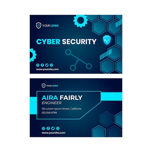 Modèle De Carte De Visite Horizontale Recto-verso De Cybersécurité Vecteur Premium