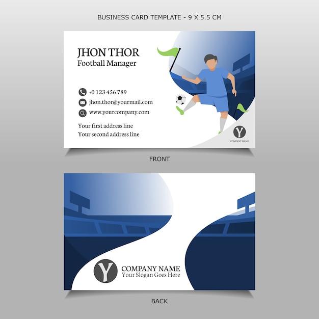 Modèle de carte de visite joueur de football balle de jonglage Vecteur Premium