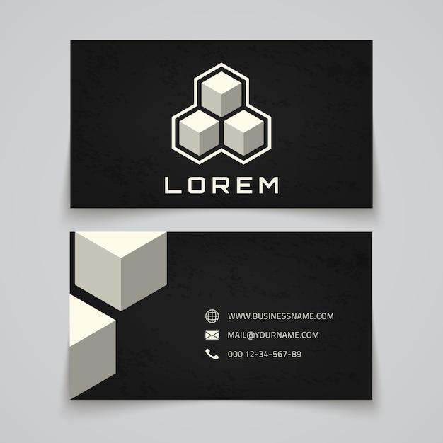 Modèle De Carte De Visite. Logo De Concept De Cubes Abstraits. Illustration Vecteur Premium