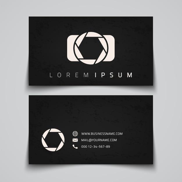 Modèle De Carte De Visite. Logo Conceptuel De L'appareil Photo. Illustration Vecteur Premium