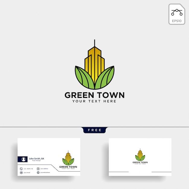 Modèle de carte de visite et logo ville verte Vecteur Premium