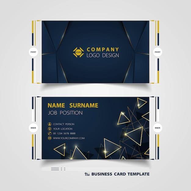 Modèle de carte de visite de luxe dégradé bleu de couleur bleue Vecteur Premium