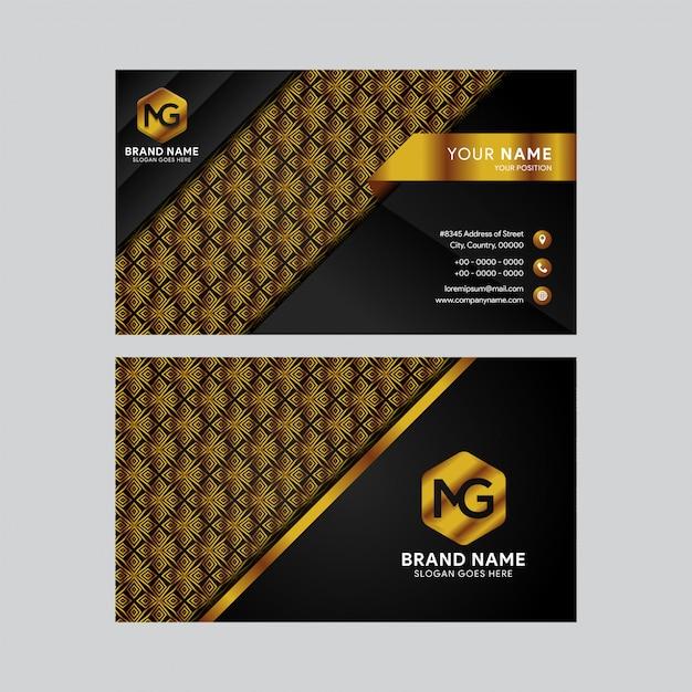 Modèle De Carte De Visite De Luxe Et élégant En Or Noir Vecteur Premium