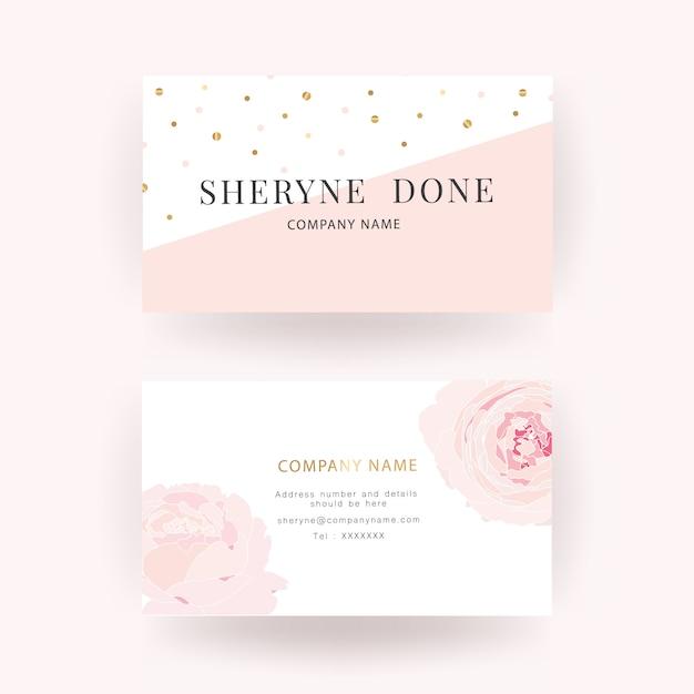 Modèle de carte de visite de luxe rose rose Vecteur Premium