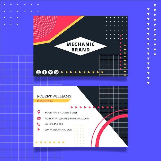 Modèle De Carte De Visite De Mécanicien Vecteur Premium