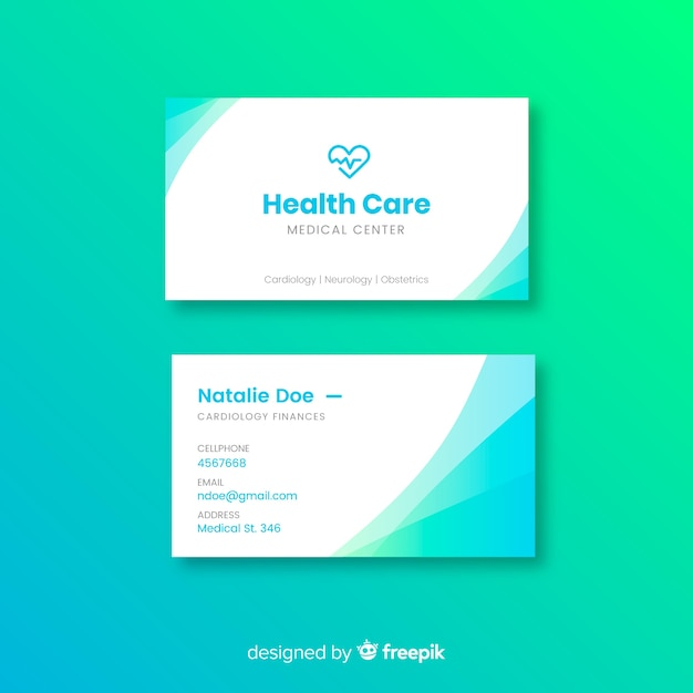 Modèle de carte de visite médicale avec un style moderne Vecteur gratuit