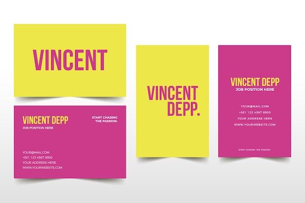 Modèle de carte de visite minimal coloré Vecteur gratuit