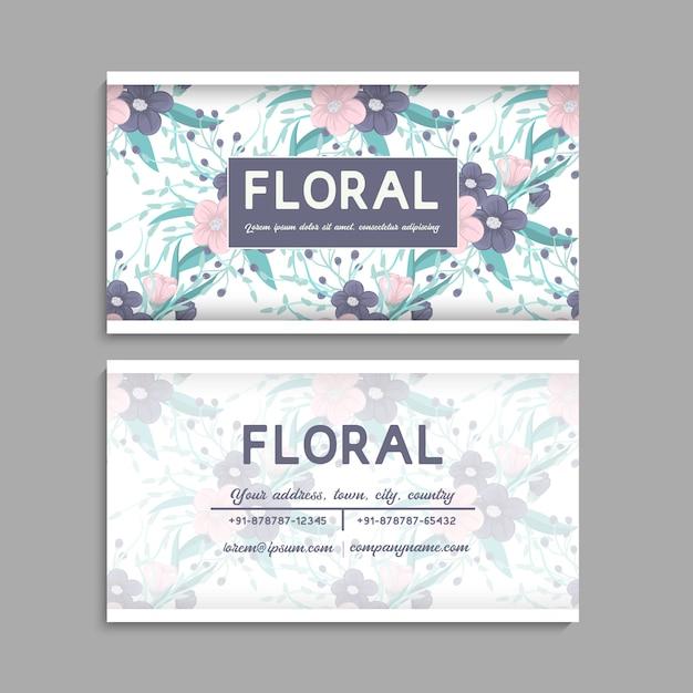 Modèle de carte de visite, motif floral fond Vecteur gratuit