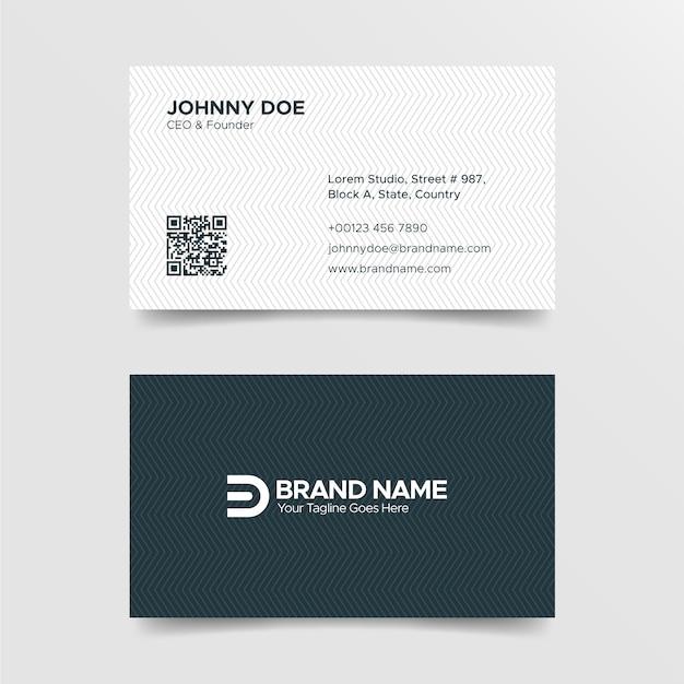 Modèle de carte de visite noir et blanc pour entreprise professionnelle Vecteur Premium