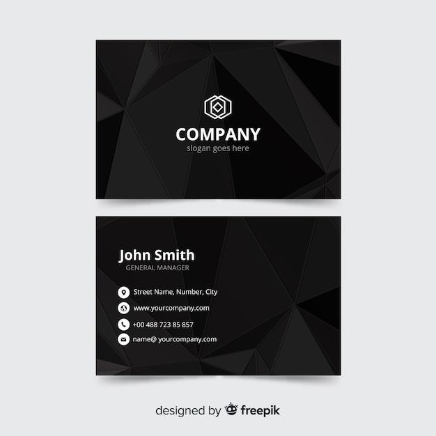 Modèle de carte de visite noir, design recto et verso Vecteur gratuit