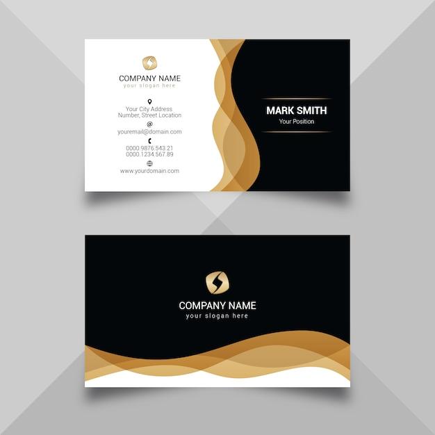 Modèle de carte de visite noir doré moderne Vecteur Premium