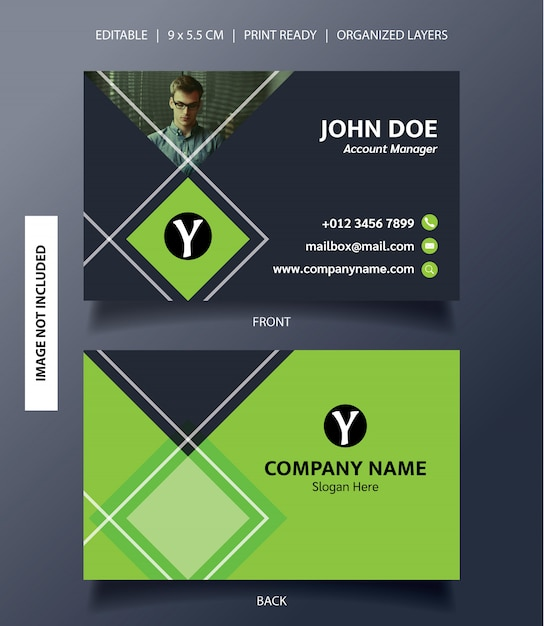 Modèle de carte de visite ornement rectangle Vecteur Premium