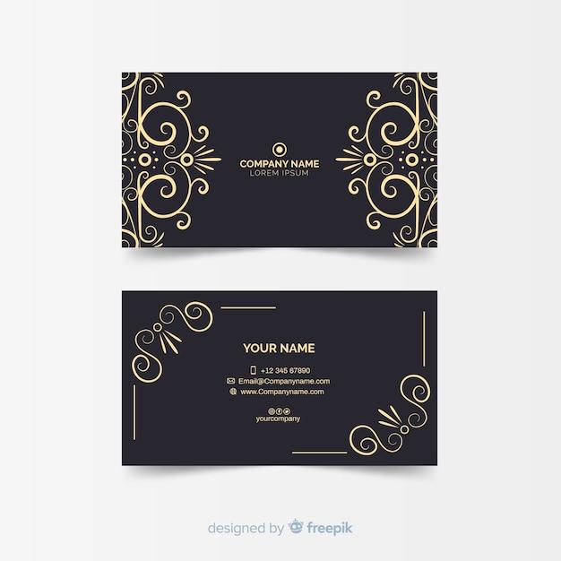 Modèle de carte de visite ornemental doré Vecteur gratuit