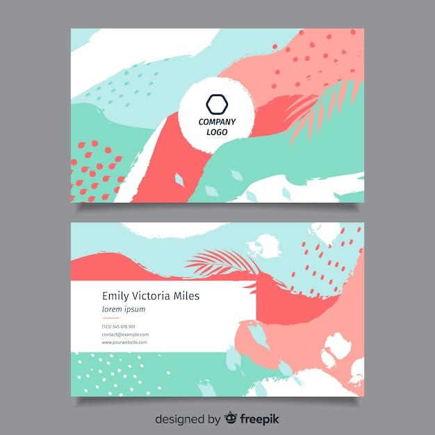 Modèle de carte de visite peint abstrait Vecteur gratuit