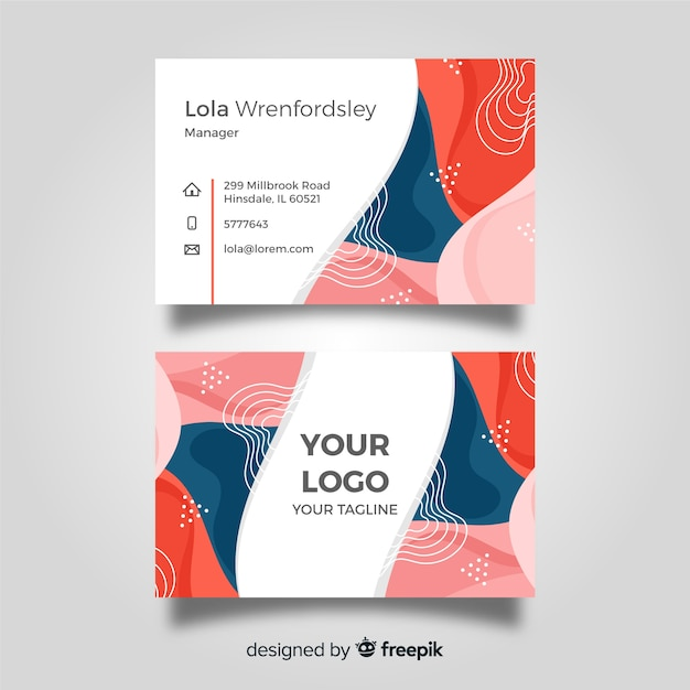 Modèle de carte de visite plat abstrait Vecteur gratuit