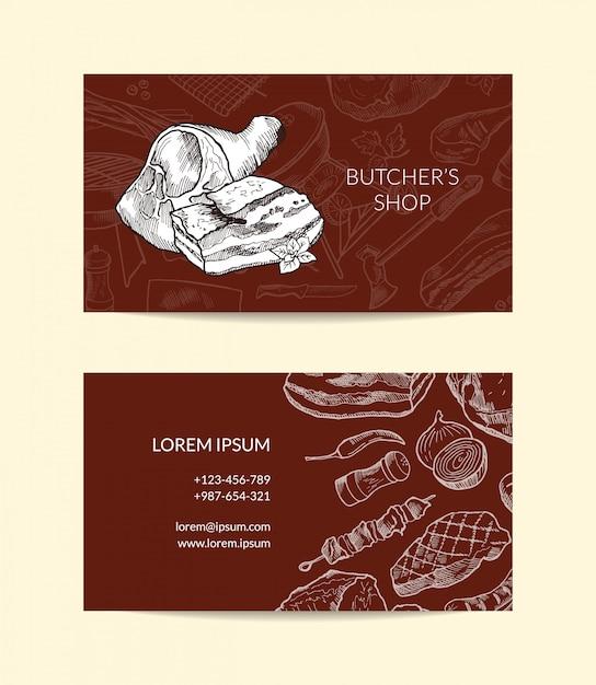 Modèle de carte de visite pour boucherie magasin avec éléments de viande monochrome dessinés à la main Vecteur Premium