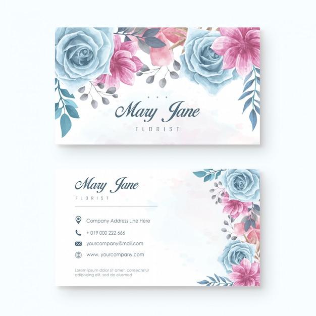 Modèle de carte de visite pour fleuriste élégant avec aquarelle florale Vecteur Premium
