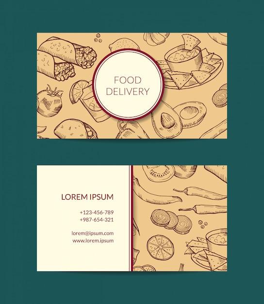 Modèle de carte de visite pour la livraison de restaurant, boutique ou café avec des éléments de la cuisine mexicaine esquissée Vecteur Premium