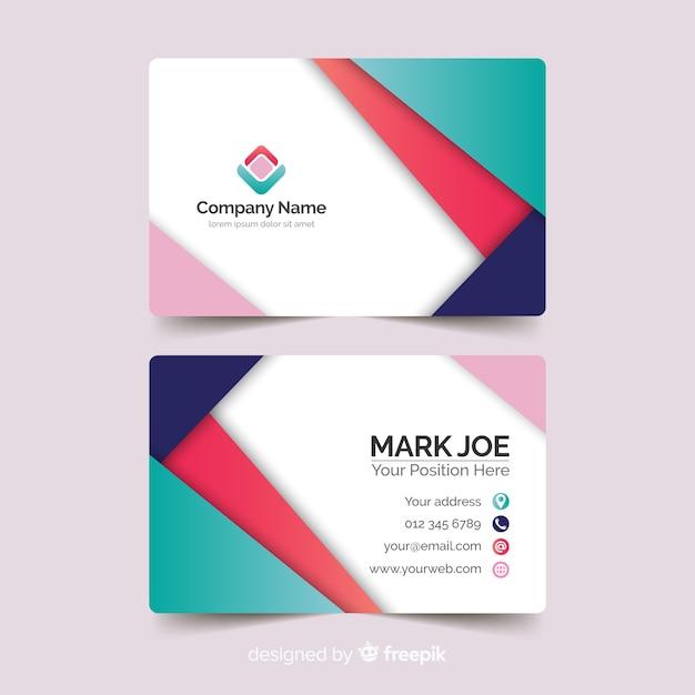 Modèle de carte de visite pour le style papier abstrait Vecteur gratuit
