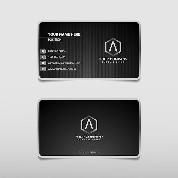 Modèle de carte de visite professionnel de technologie moderne argent noir et blanc Vecteur Premium