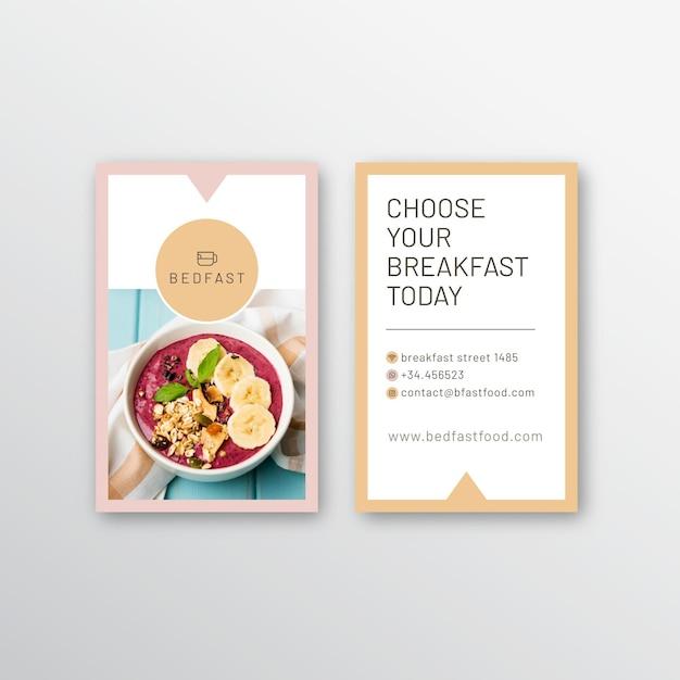 Modèle De Carte De Visite De Restaurant De Petit Déjeuner Vecteur gratuit