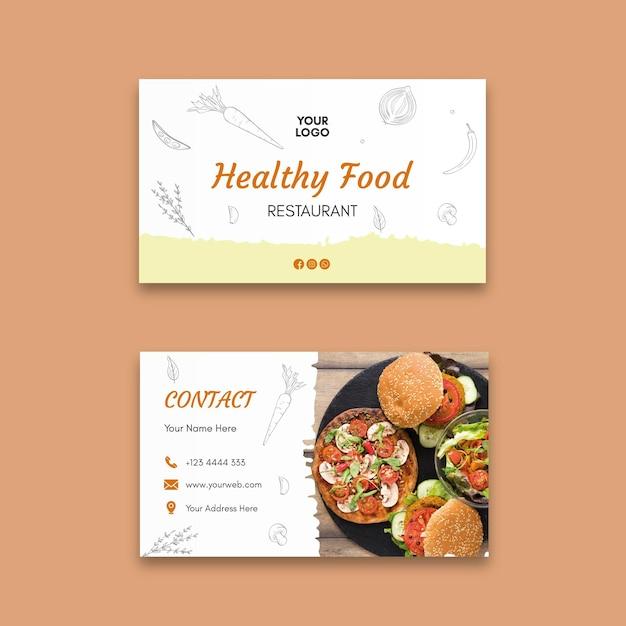 Modèle De Carte De Visite De Restaurant Sain Vecteur gratuit