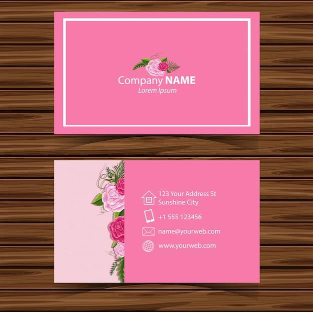 Modle De Carte Visite Avec Des Roses En Arrire Plan