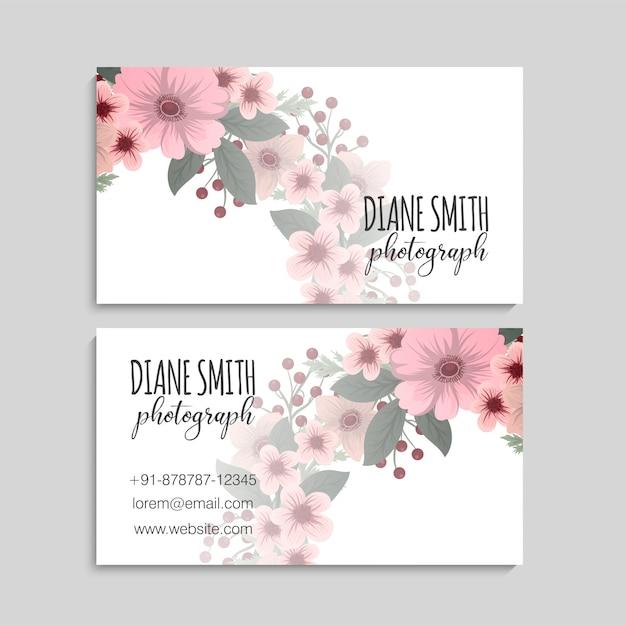 Modèle de carte de visite de style floral Vecteur Premium