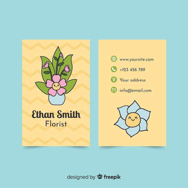 Modèle de carte de visite de style kawaii Vecteur gratuit