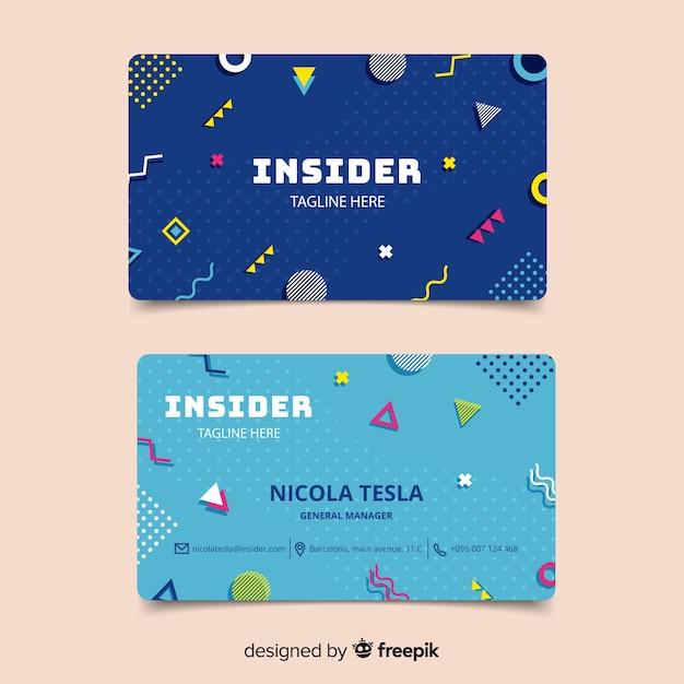 Modèle de carte de visite de style memphis Vecteur gratuit