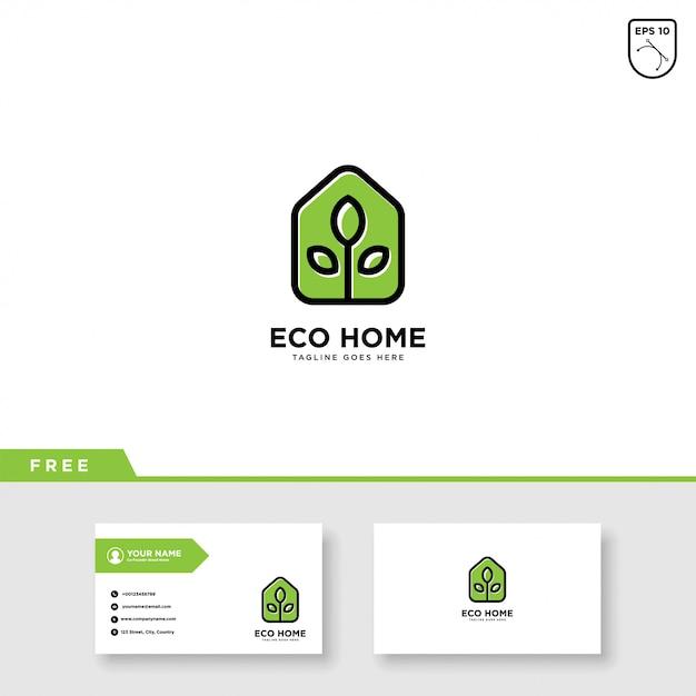 Modèle de carte de visite et vecteur de logo eco house Vecteur Premium