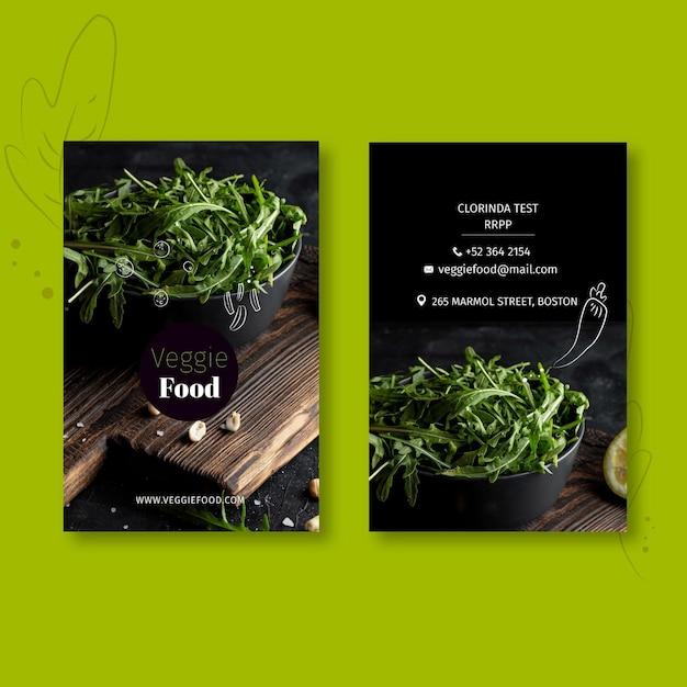 Modèle De Carte De Visite Verticale De Restaurant Sain Vecteur Premium