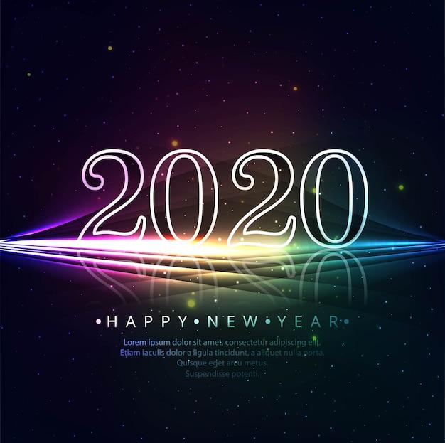 Modèle De Carte De Voeux De Beaux Paillettes Brillantes 2020 Nouvel An   Vecteur Gratuite