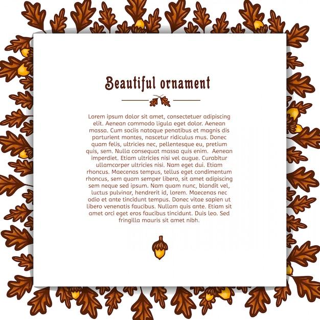 Modèle De Carte De Voeux Avec Cadre De Feuilles De Chêne D'automne Et Glands. Place Pour Votre Texte Vecteur Vecteur Premium