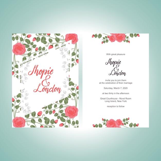 carte de voeux de mariage Modèle De Carte De Voeux Invitation De Mariage élégant Floral