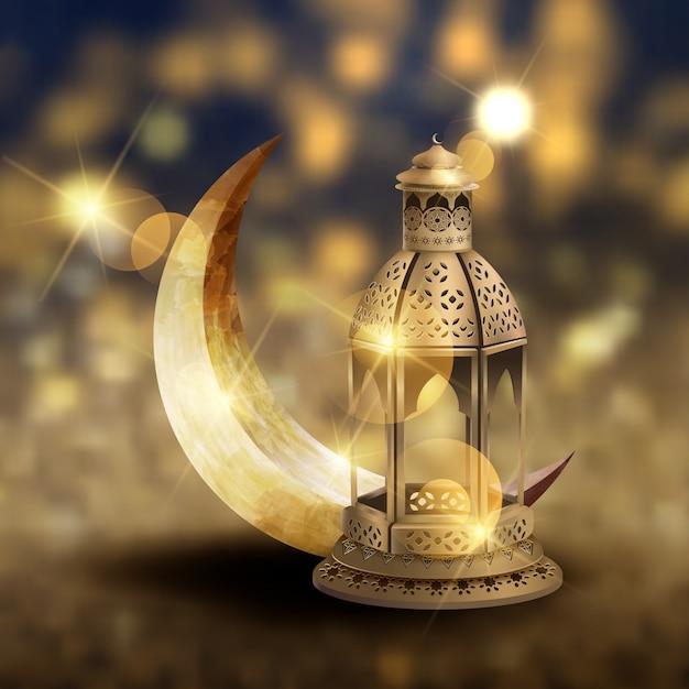 Modèle de carte de voeux islamique avec lanternes Vecteur Premium