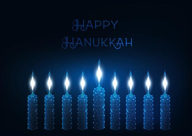 Modèle de carte de voeux joyeux hanukkah Vecteur Premium