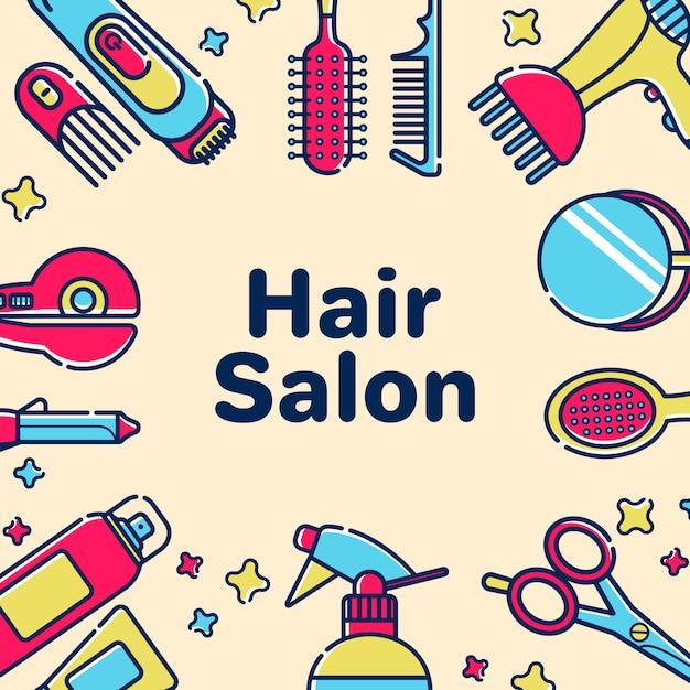 Modèle de carte de voeux pour salon de coiffure Vecteur Premium