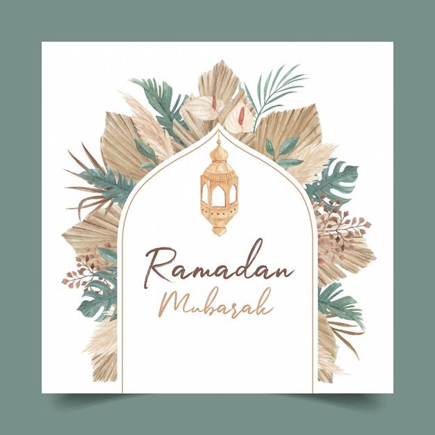 Modèle De Carte De Voeux Ramadan Mubarak Avec De L'herbe De Pampa Aquarelle Et Illustration De Feuilles Séchées Vecteur Premium
