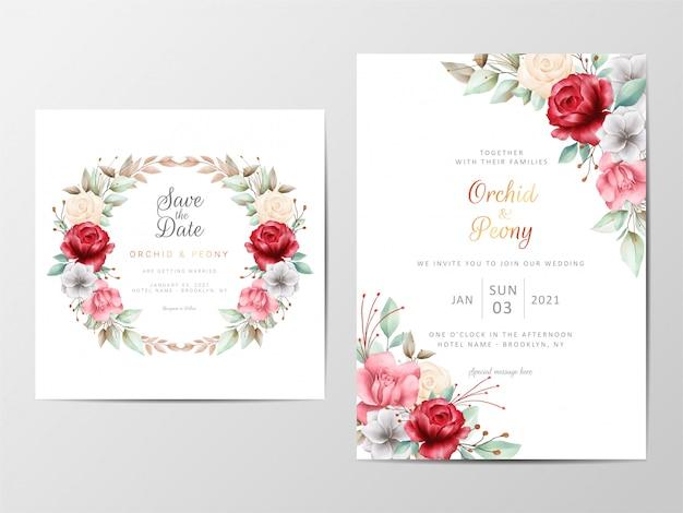 Modèle de cartes d'invitation de mariage feuillage avec aquarelle fleurs romantiques Vecteur Premium