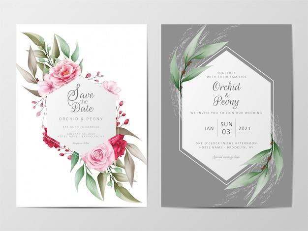 Modèle de cartes d'invitation de mariage fleurs sertie de cadre géométrique Vecteur Premium