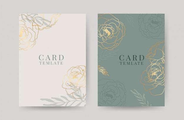 Modèle de cartes d'invitation de mariage de luxe Vecteur Premium